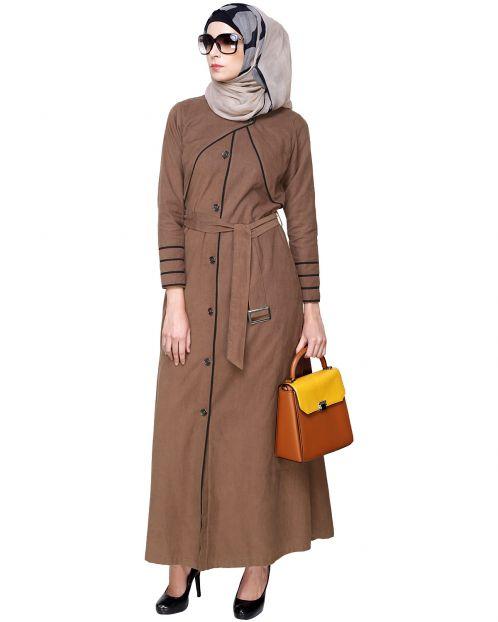 Brown Coat Abaya with Overlap Panel