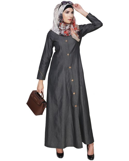 Denim Flared Abaya
