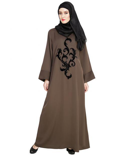 Oak Brown Plush Dubai Style Abaya