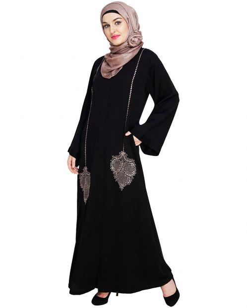 Wondrous Black Dubai Style Abaya