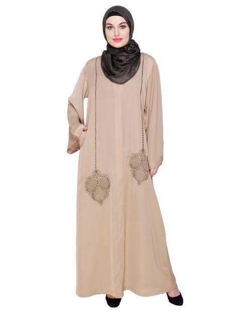 Wondrous Beige Dubai Style Abaya