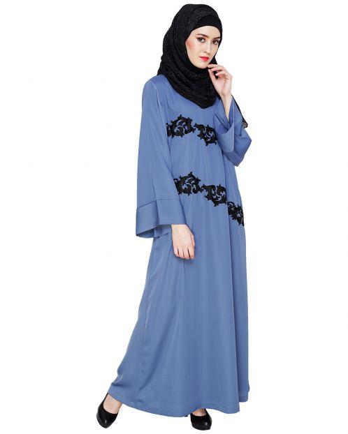 Fancy Embroidered Steel Blue Dubai Style Abaya