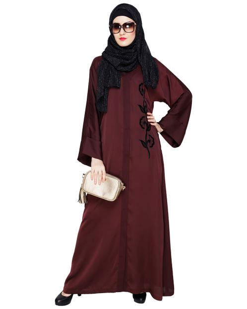 Exclusive Dark Wine Applique Dubai Style Abaya