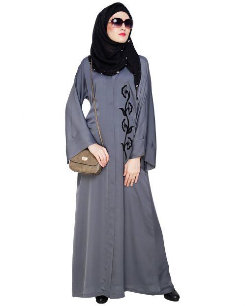 Exclusive Grey Applique Dubai Style Abaya