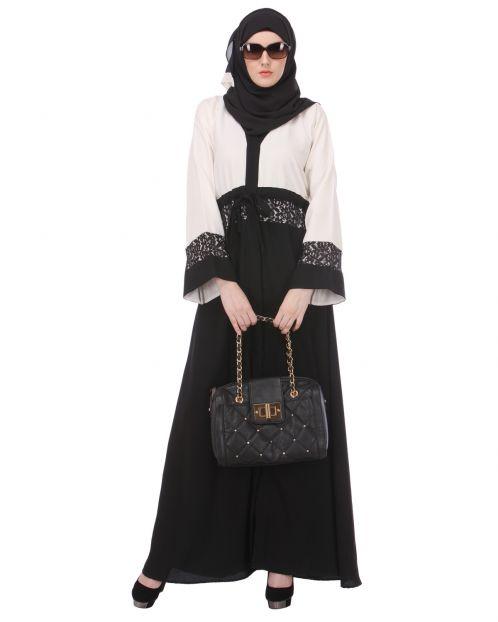 Formal Black & White Abaya