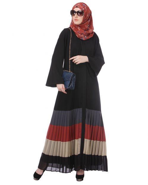 Multi Coloured Pleated Abaya