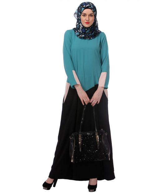 Sky Blue & Black Colour Block Abaya with Pockets