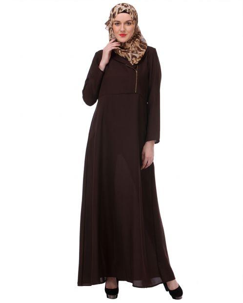 Zipped Brown Formal wear Abaya