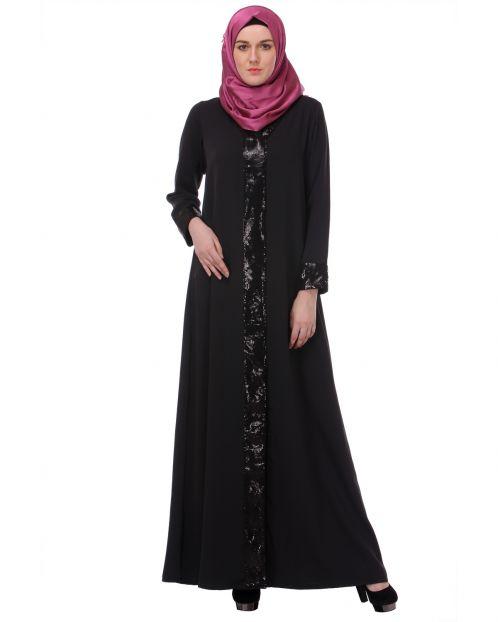 Sequined Charcoal Black Abaya