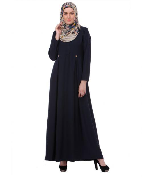 Flared Frock Style Blue Abaya