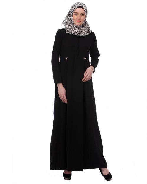 Flared Frock Style Black Abaya