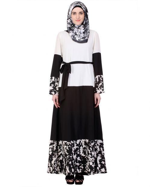 Iconic Black & White Abaya with Satin Belt