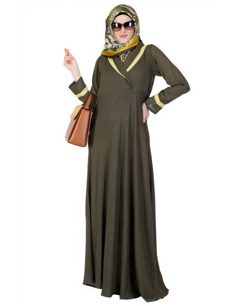 Green Crossover Yoke Flared Abaya