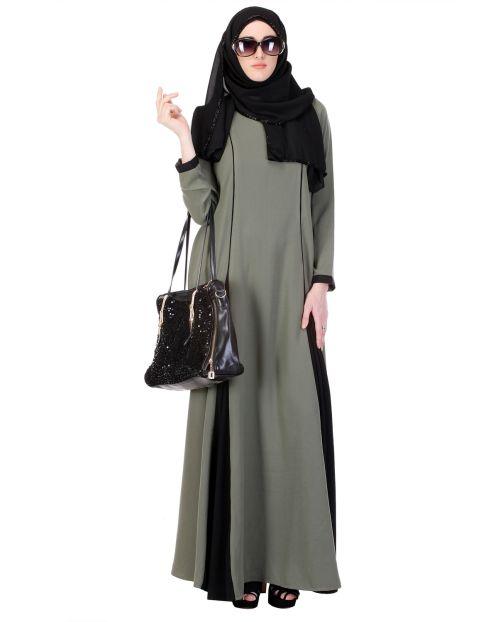 Inverted Pleat Green & Black Frock Abaya