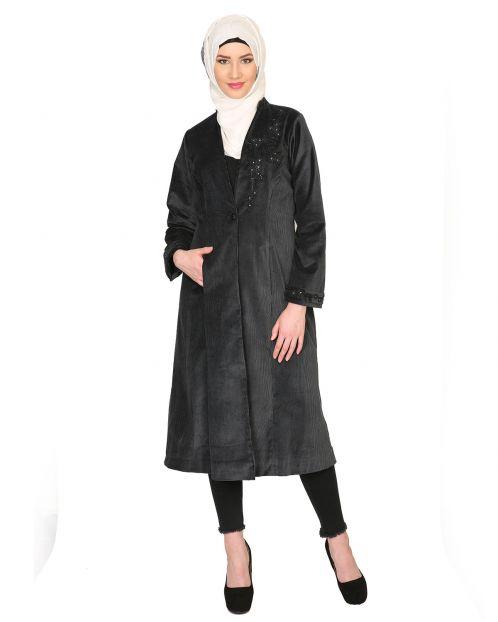 Black Velvet, Pearl Hand-Embroidery Coat Abaya