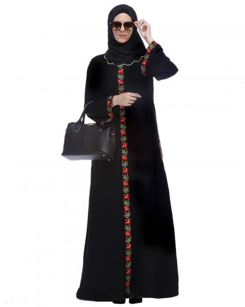 Black Abaya With Multi Coloured Thread Embroidery