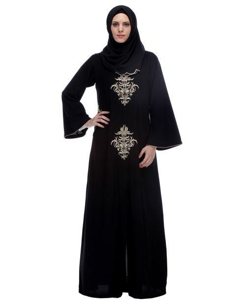 Black Abaya With Gold Zari Embroidery