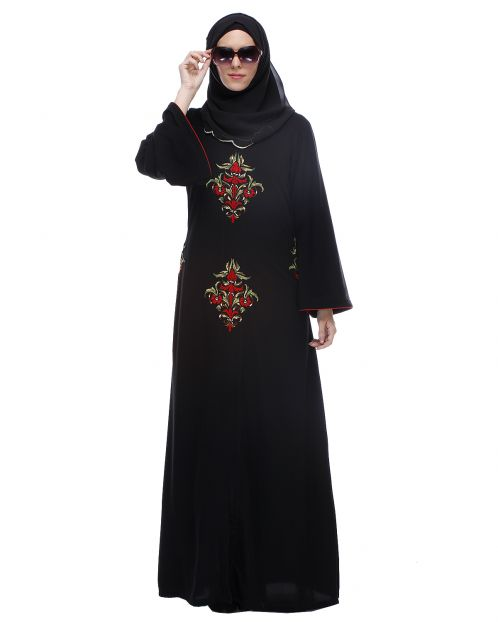 Black Abaya With Multi Coloured Thread Embroidery