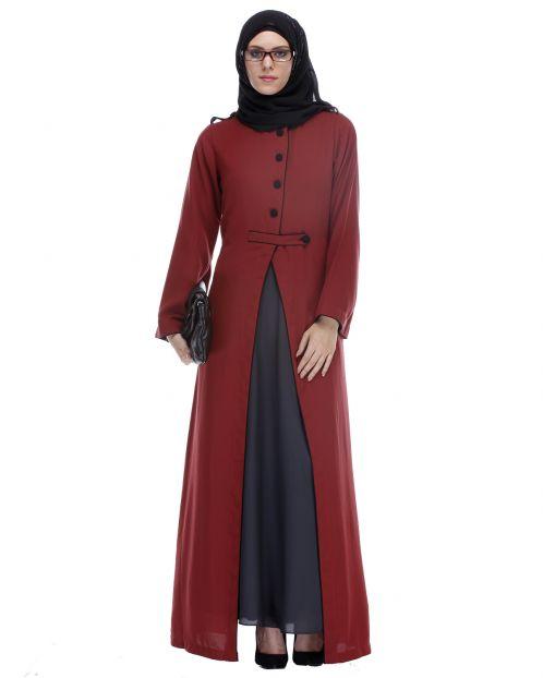 Maroon Abaya With Black Detailing