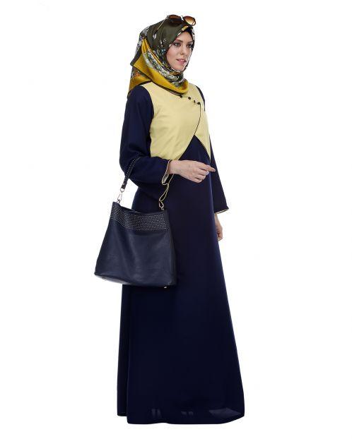 Overlapping Jacket Styled Yoke Blue Abaya