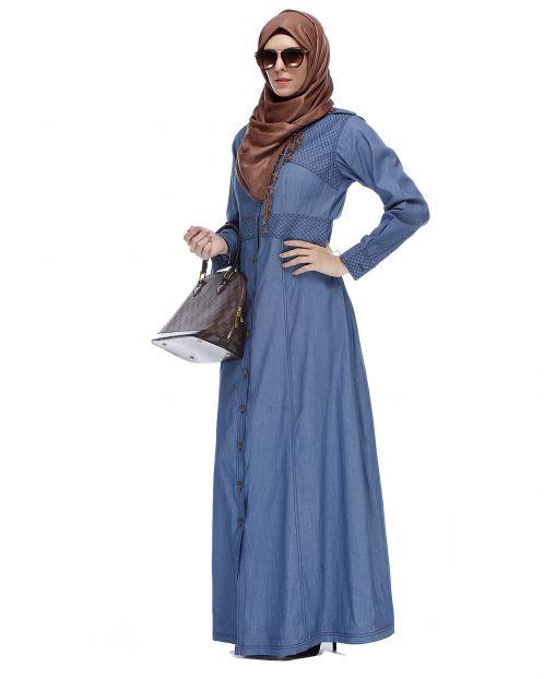 Light Blue Collared Denim Abaya