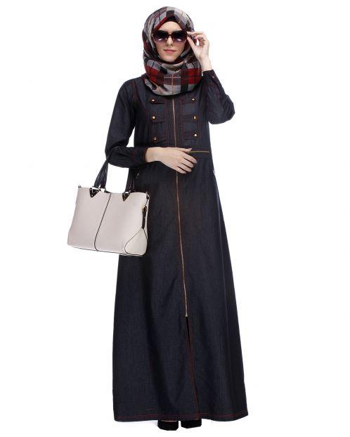 Black Denim Abaya