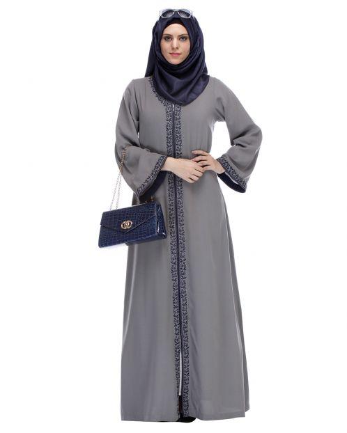 Grey Abaya With Embroidery
