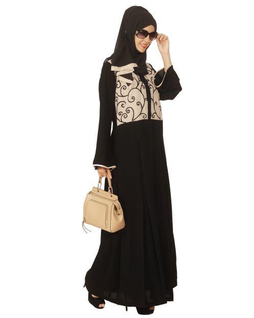 Black and Beige Box Pleated Embroidered Abaya