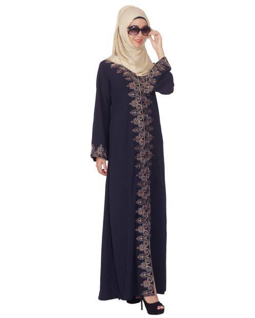 Blue Abaya with Dori Embroidery