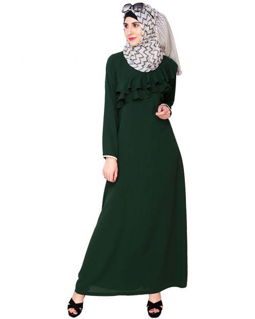 Green Frilled Abaya