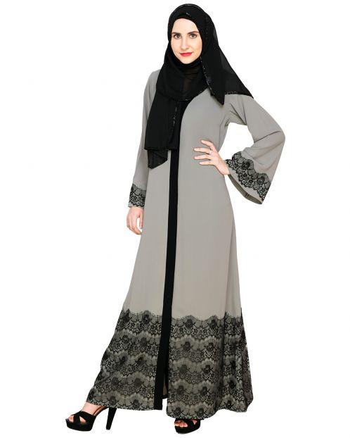 Grey And Black Laced Abaya