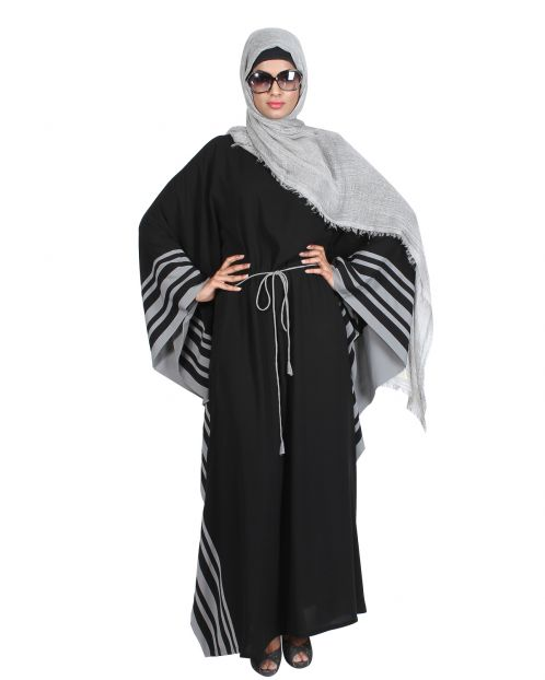 Black Kaftan with Striped Grey Border