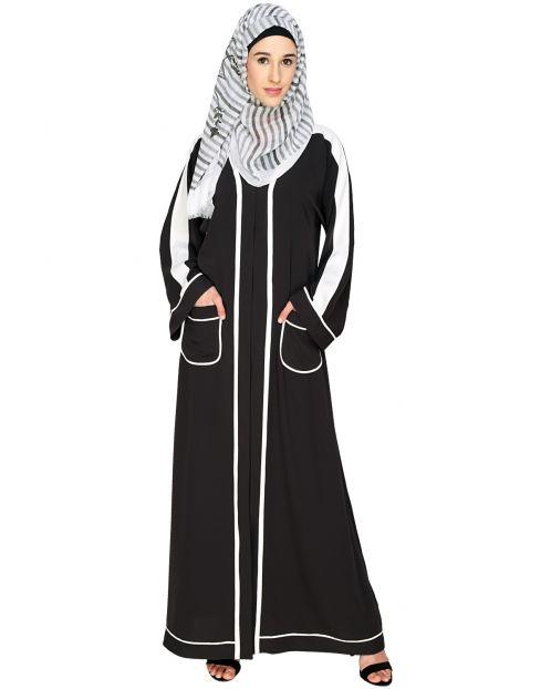 Pocket Dubai Style Abaya with white detailing