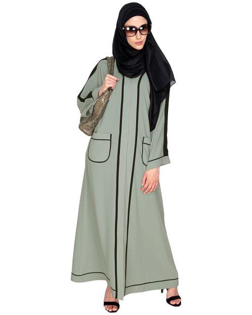 Pocket Dubai Style Abaya with Black detailing