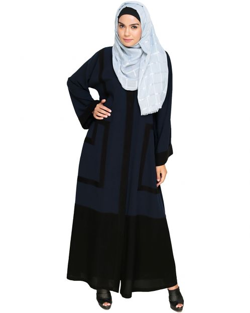 Quirky Dubai Style Blue Abaya with detailing