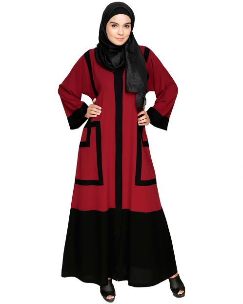 Quirky Dubai Style Maroon Abaya with detailing