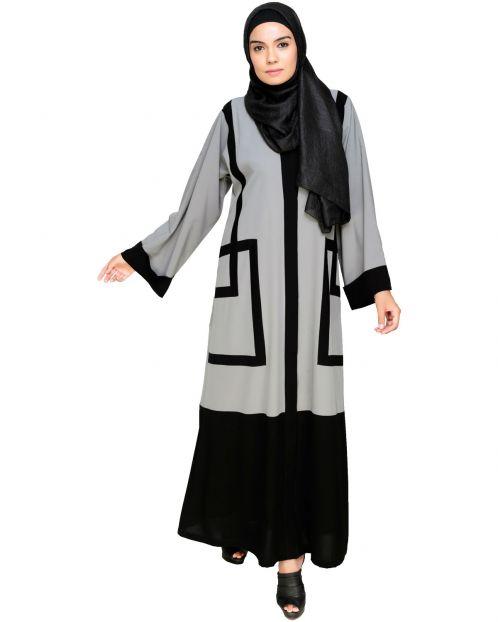 Quirky Grey Dubai Style Abaya with detailing