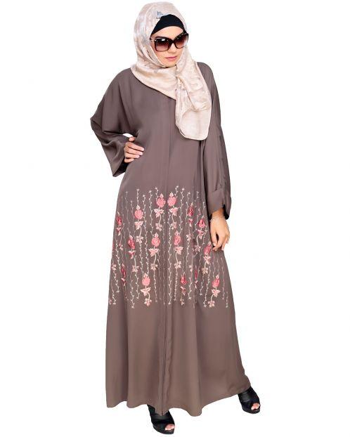 Orchid Dubai Style  Mud  Brown Abaya