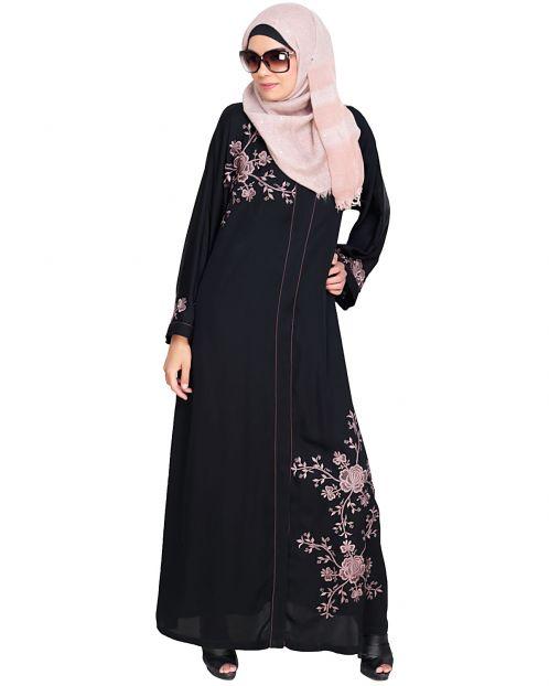 Botanical Black Embroidered Dubai Style Abaya