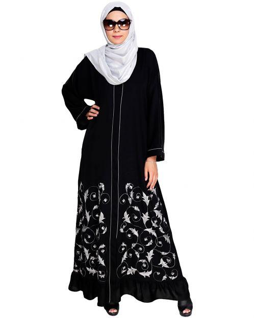 Magnificent Black Gathers Embroidered  Dubai Style Abaya