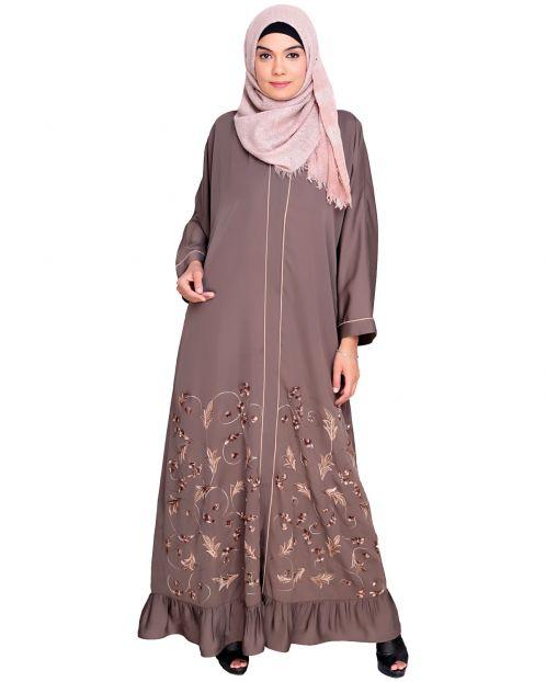 Magnificent Grey Gathers Embroidered  Dubai Style  Abaya