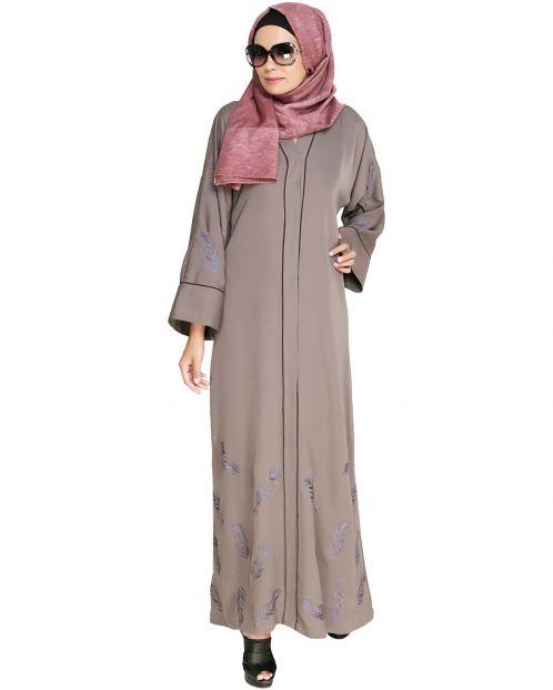 Feather Embroidered Dubai Style Light brown Abaya
