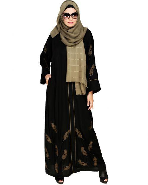 Feather Embroidered Dubai Style Black Abaya