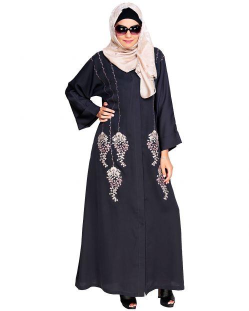 Floral Pendant Dubai Style Grey Abaya