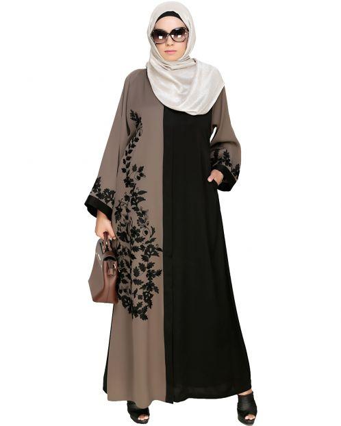 Wanderlust Mud Brown & Black Embroidery Dubai Style Abaya