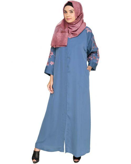 Alluring Floral Embroidery Dubai Style Blue Abaya