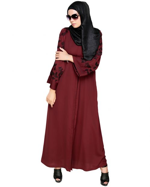 Alluring Floral Embroidery Dubai Style Wine Abaya