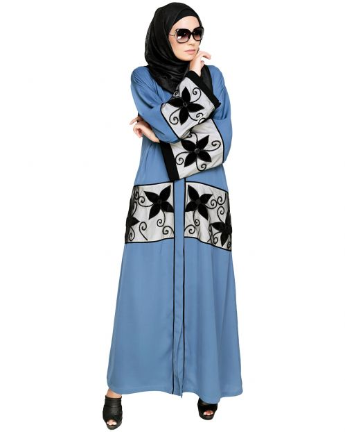 Blue Floral Lace Embroidered Dubai Style Abaya