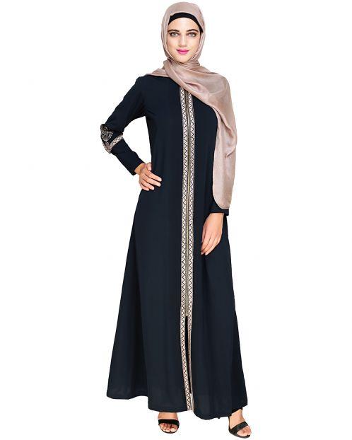 Bygone Front Zipper Blue Abaya