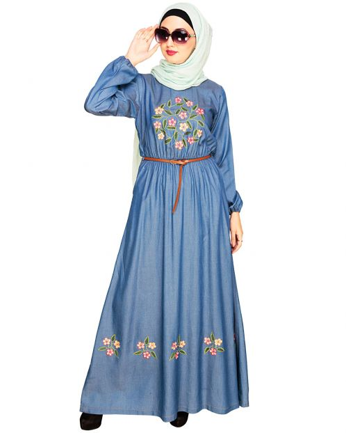 Plush Embroidered Blue Maxi Dress Abaya
